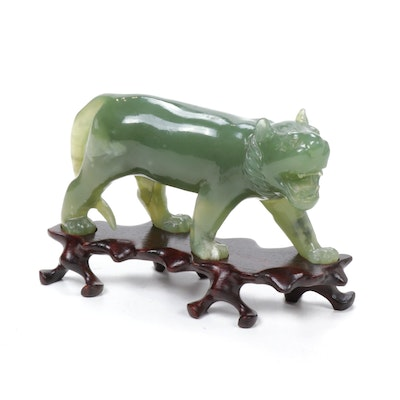 Chinese Nephrite Tiger Sculpture with Carved Boxwood Stand