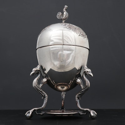 William Adams Inc. Hand-Chased Silver Plate Egg Coddler