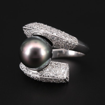 18K White Gold Pearl and 1.90 CTW Diamond Bypass Ring
