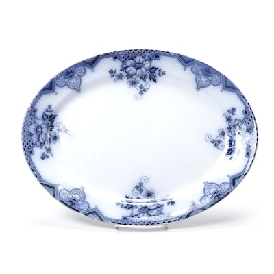 "Hollinshead & Kirkham ""Cambridge"" Flow Blue Earthenware Serving Platter"