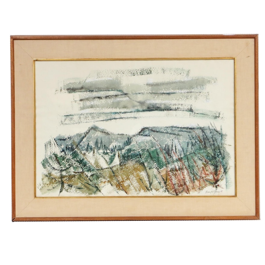 "Mary Williams Watercolor Painting ""Mountain Range,"" 1961"