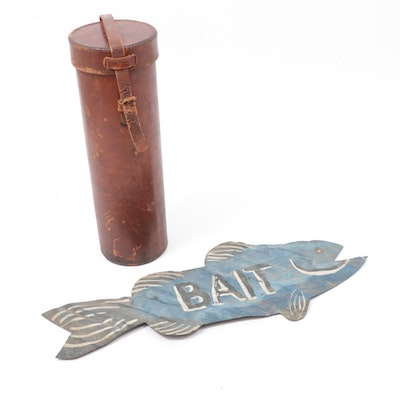 """Leather Wine Bottle Holder and Corrugated Metal """"Bait"""" Fish Sign"""