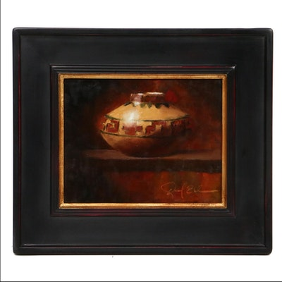 Daniel Edmondson Still Life of Native American Pot Oil Painting