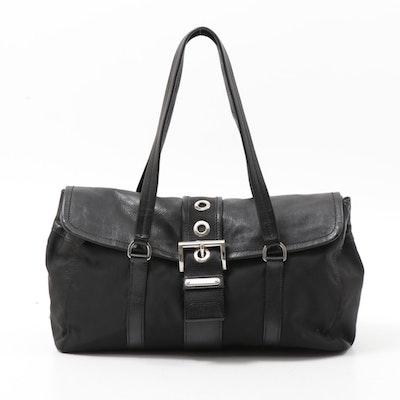 Prada Black Leather and Tessuto Nylon Buckle Flap Shoulder Bag