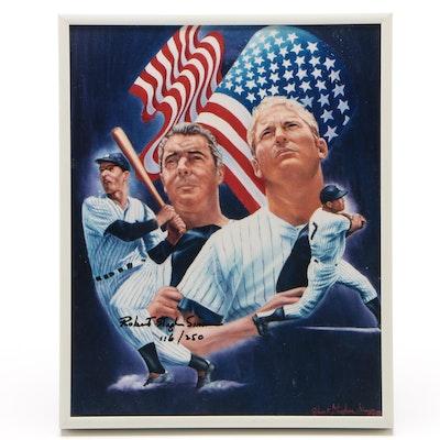 Robert Simon Signed DiMaggio-Mantle Framed Baseball Print, 116/250