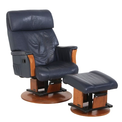 Avantglide Navy Leather Lounge Chair and Ottoman