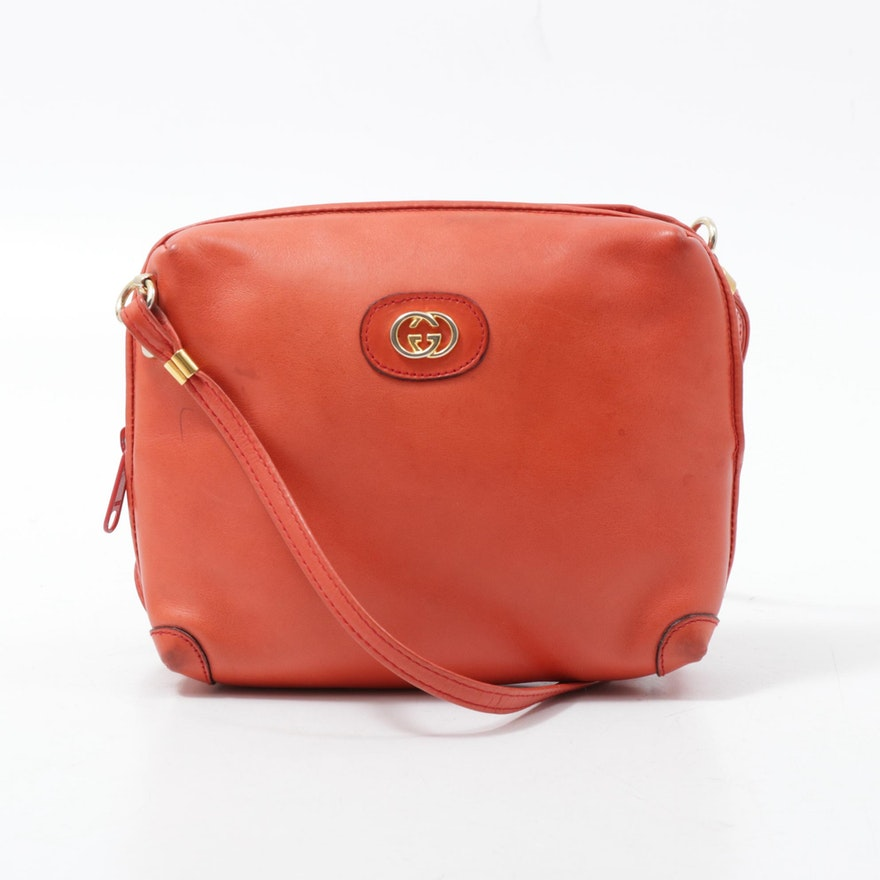 Gucci Leather GG Crossbody Bag in Reddish Orange with Dust Bag, Vintage