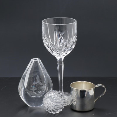 Orrefors Etched Bee Tear Drop Vase with Marquis by Waterford Goblet