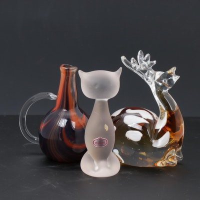 Artist Signed Art Glass Pitcher, Rainbow Frosted Glass Cat and Deer Figure