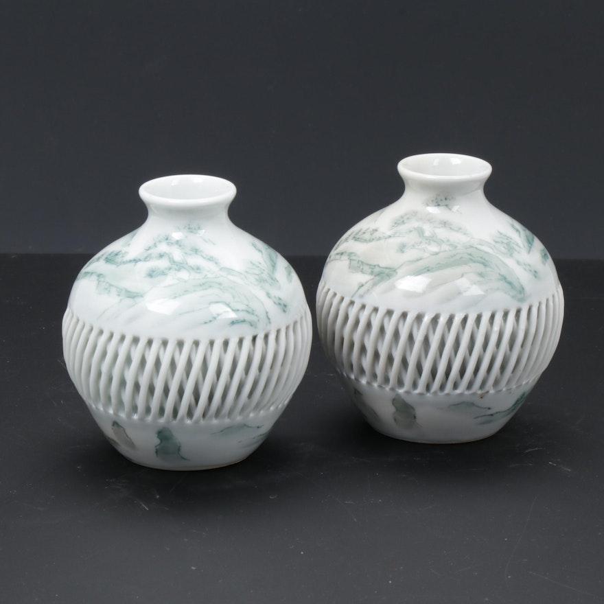 Japanese Imari Hand-Painted Porcelain Vases with Lattice Motif, Pair