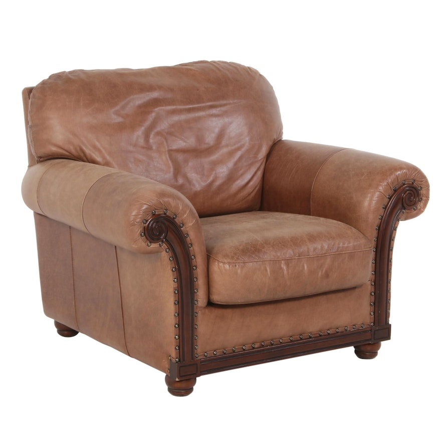 Leather Italia by Campbell, Leather Club Chair with Nailhead Trim, Contemporary