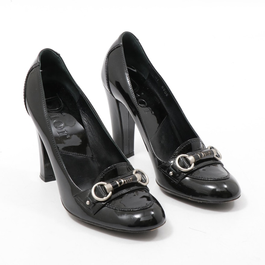 Christian Dior Black Patent Leather Logo High-Heeled Loafers