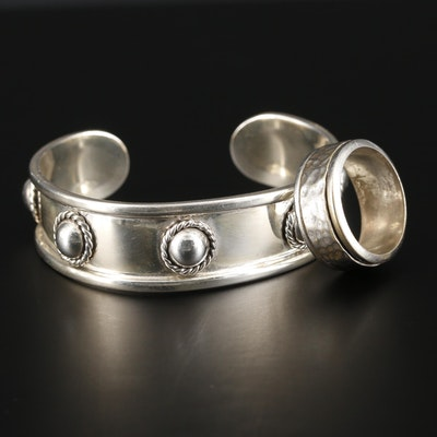 Mexican Sterling Silver Cuff Bracelet with Hammered Spinner Ring