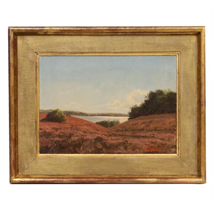 J. Rycard Landscape Oil Painting, 1919