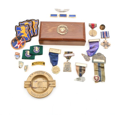 West Point Box, Distinguished Flying Cross Medal and American Legion Badges