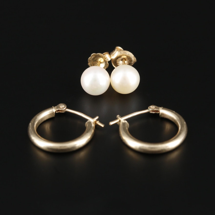14K Yellow Gold Pearl Stud Earrings with Hoop Earrings