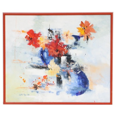 Judith Pope Abstract Floral Still Life Oil Painting, 1983