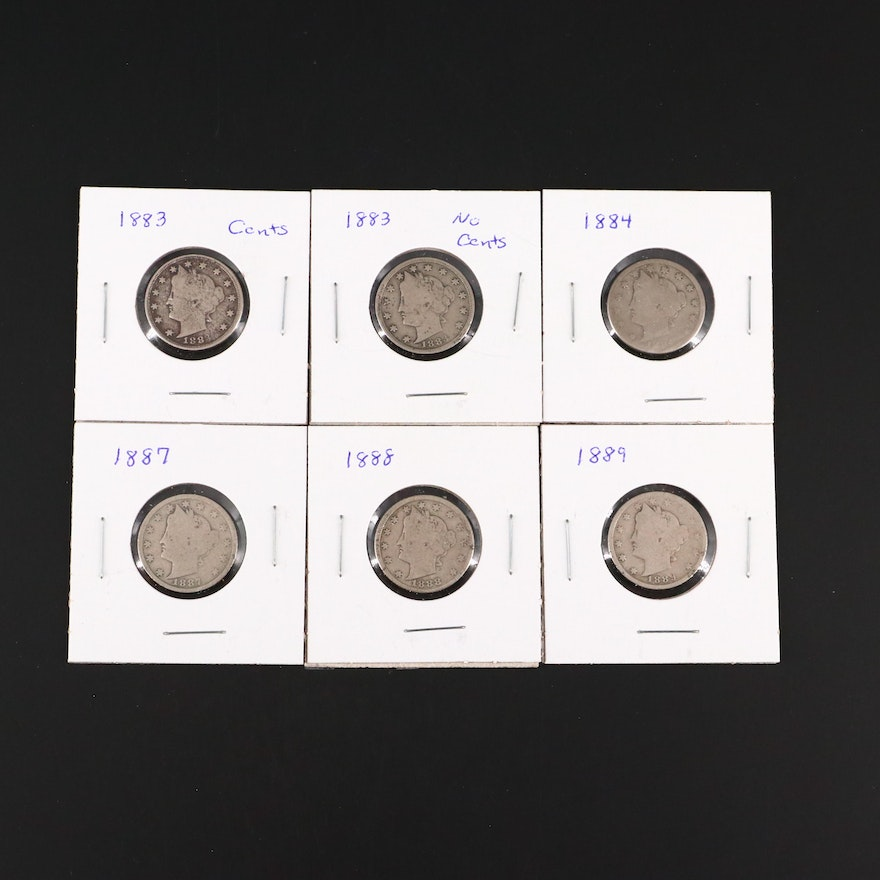 "Six Liberty Head ""V"" Nickels"