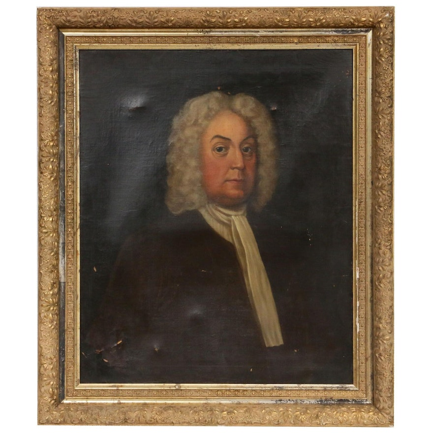 English School Style Gentleman Portrait Oil Painting, 19th Century