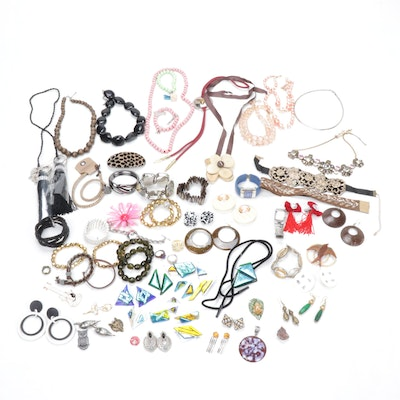 Fused Glass Jewelry Assortment with Other Costume Jewelry Including Ann Taylor