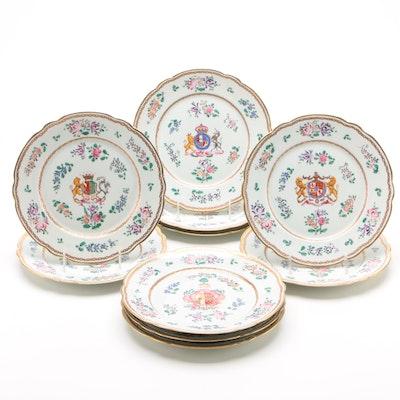 Porcelaine de Paris Chinese Armorial Style Porcelain Dinner Plates