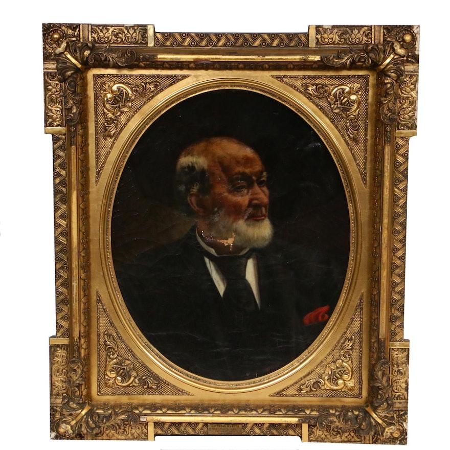 P.K. Clover Male Portrait Oil Painting, 1891