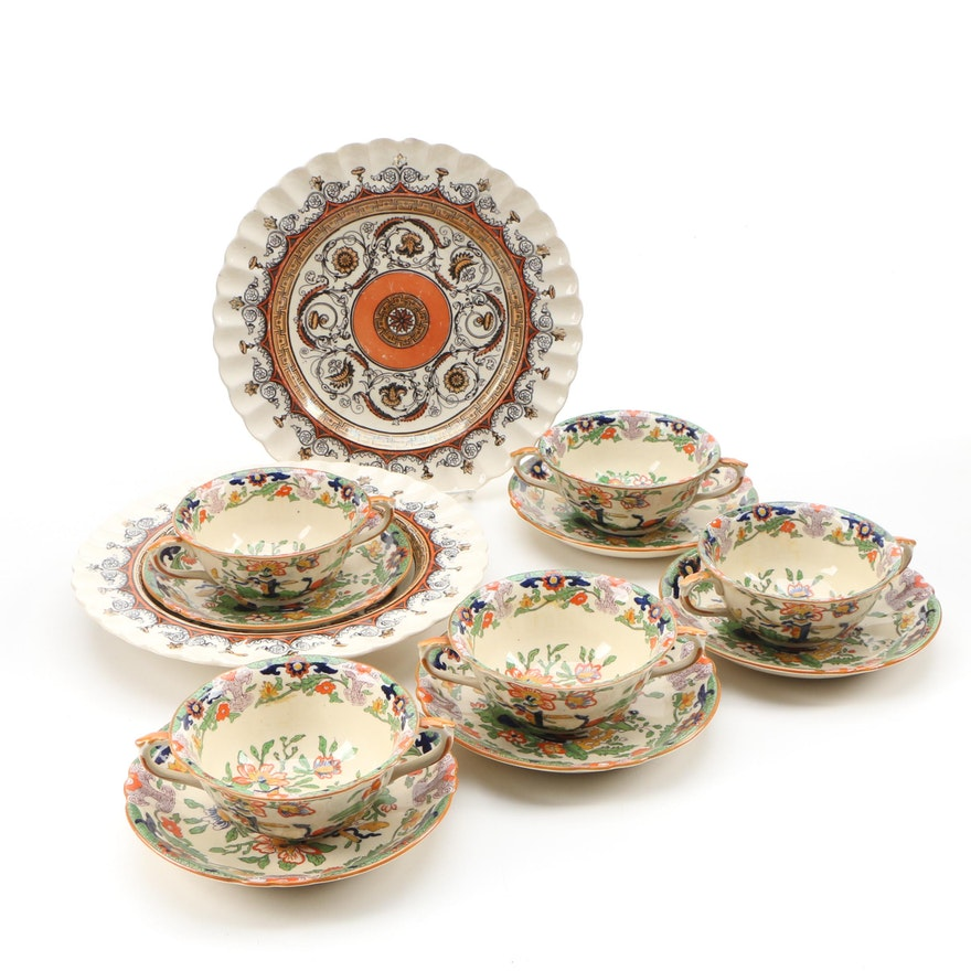 Mason's Ironstone Cups and Saucers and Copeland Spode Eartheware Dishes
