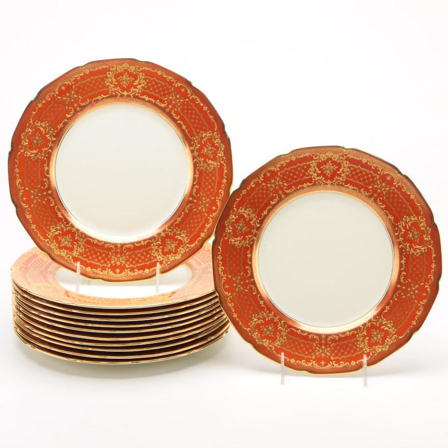 Royal Doulton for Tiffany & Co. Crimson & Gold Bordered Bone China Dinner Plates