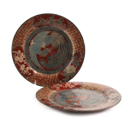 Red Lacquered East Asian Phoenix Wood Plates, Vintage