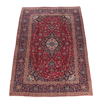 7'11 x 11'3 Hand-Knotted Persian Kashan Wool Area Rug
