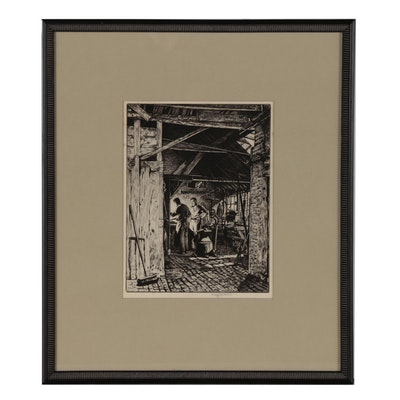 """Stanley Anderson """"Timm's Smithy, Thane"""" Drypoint Etching, 1939"""