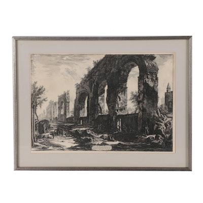 Giovanni Piranesi Restrike Etching of the Neronian Aquaducts, 19th Century
