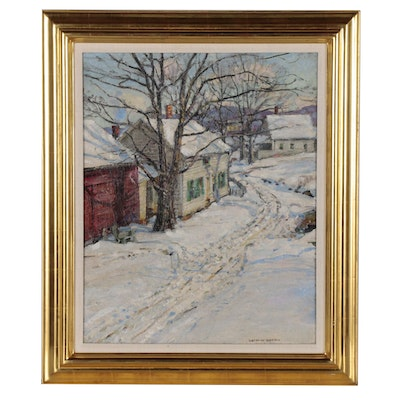 "George Gardner Symons Oil Painting ""Winter in the Foothills of the Berkshires"""
