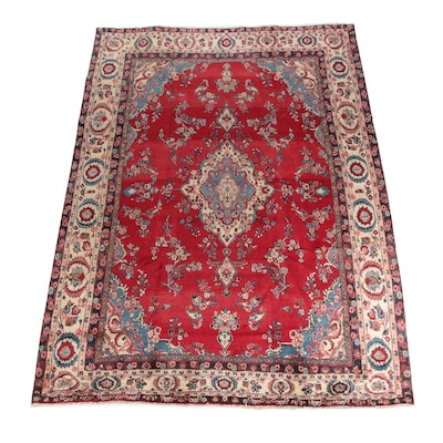 8'7 x 12'1 Hand-Knotted Persian Yazd Wool Area Rug