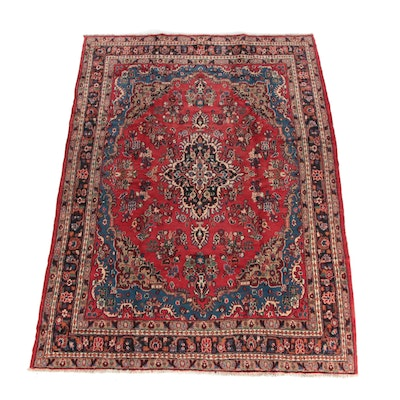 7'3 x 10' Hand-Knotted Persian Kashan Wool Area Rug