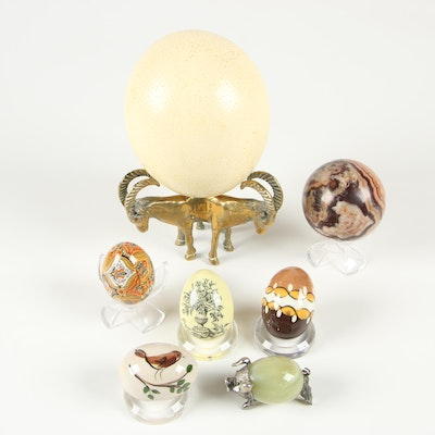 Hand-Painted Porcelain Decorative Eggs and Brass Ram Figurine