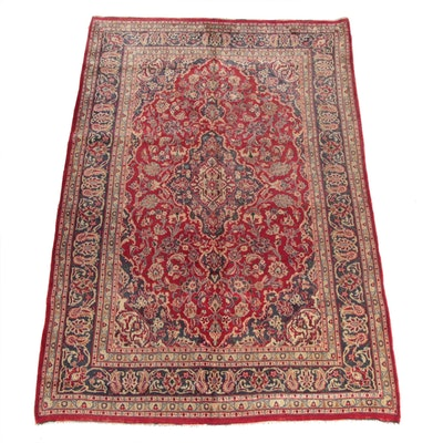 6'6 x 9'8 Hand-Knotted Persian Ardekan Kashan Wool Area Rug