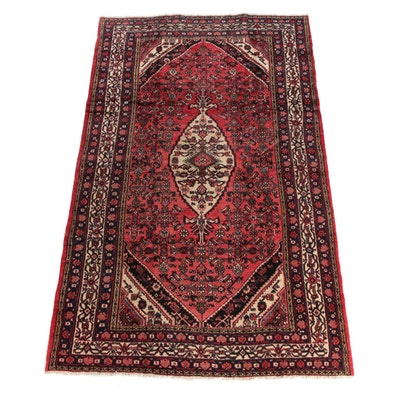 6'7 x 11'1 Hand-Knotted Persian Hamadan Wool Area Rug