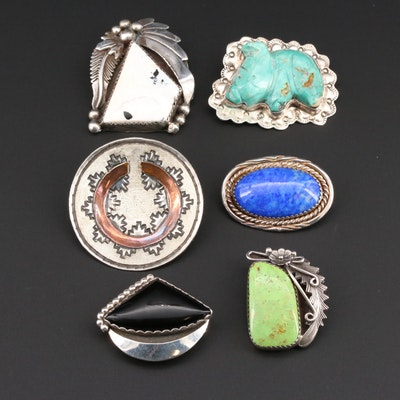 Native American Brooch Collection Featuring Peterson Johnson, Navajo Diné