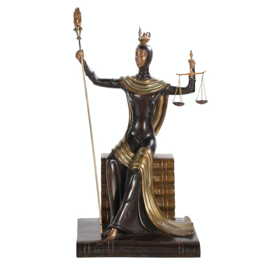 "Erté Patinated Bronze Sculpture ""Justice"", 1984"
