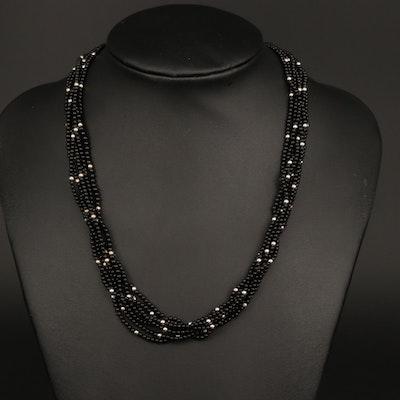 14K White Gold Black Onyx Multi-Strand Beaded Necklace