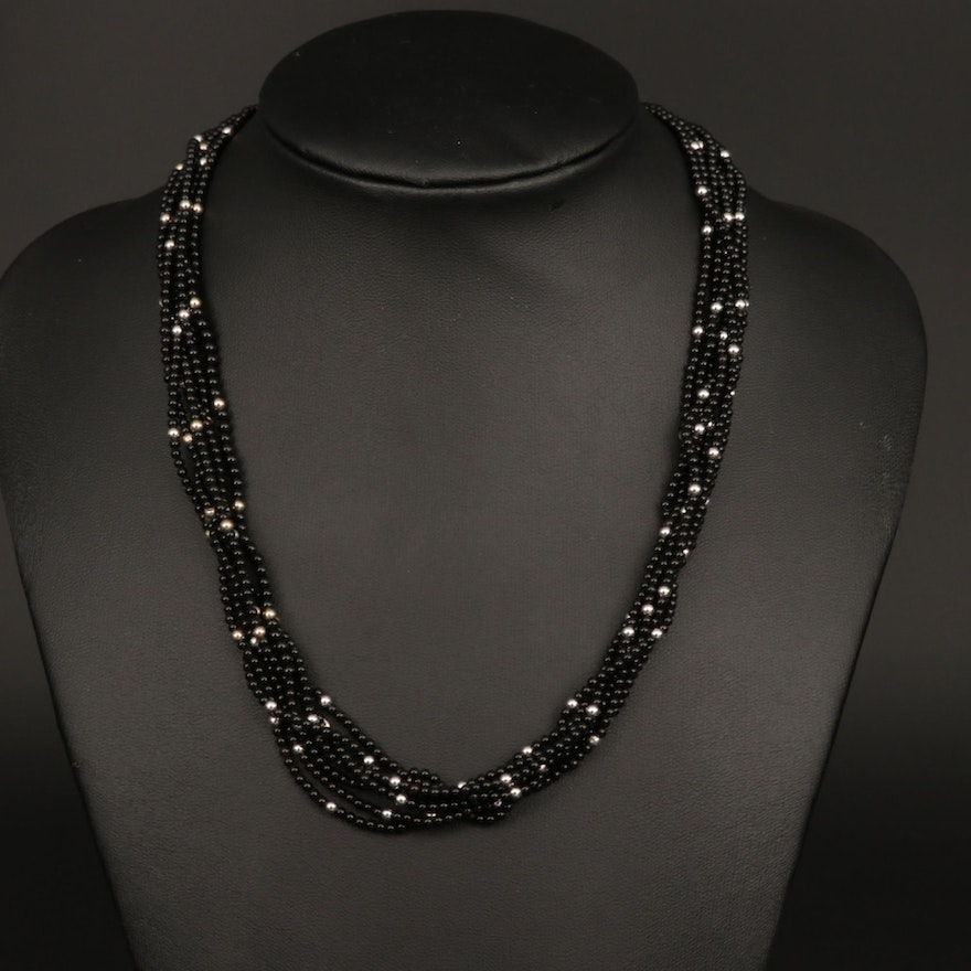 14K White Gold Black Onyx Multi-Strand Beaded Necklace