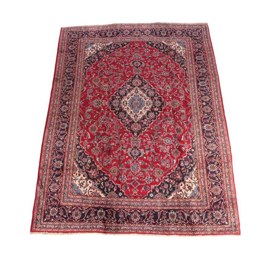 8' x 10'11 Hand-Knotted Persian Kashan Wool Area Rug
