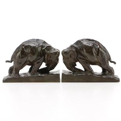"""Mahonri MacKintosh Young """"Elephant"""" Cast Bronze Bookends"""