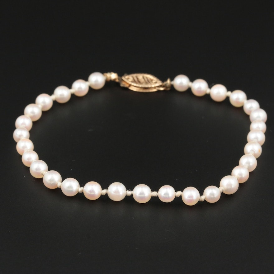 Cultured Pearl Bracelet With 14K Yellow Gold Clasp