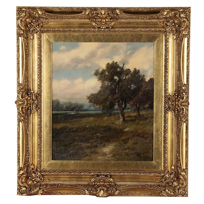 Patrick Vincent Berry Oil Painting of Pastoral Landscape, Early 20th Century