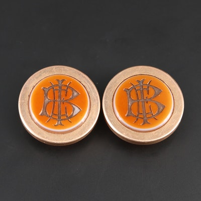 Antique 14K Rose Gold Sardonyx Monogrammed Button Studs