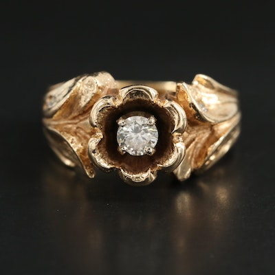 1950s 14K Yellow Gold Diamond Flower Motif Ring