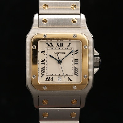 Cartier Santos De Cartier Quartz 18K Yellow Gold and Stainless Steel Wristwatch