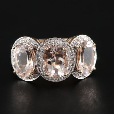 14K Rose Gold Morganite and Zircon Ring